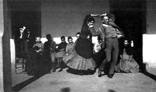 Charles Lummis learns dances at the del Valle family home, Rancho Camulos