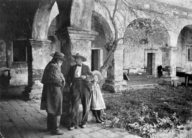 Charles Lummis at Mission San Juan Capistrano with daughter, Turbesé, Los Californios Collection.
