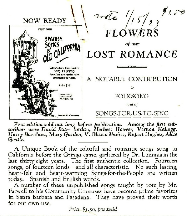 Promotional flyer, Los Californios Collection.