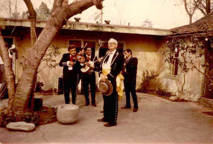 Alphonse Fages singing at La Casa Primera de Rancho San                            José Adobe, March 17, 1974. From the Fages Collection.